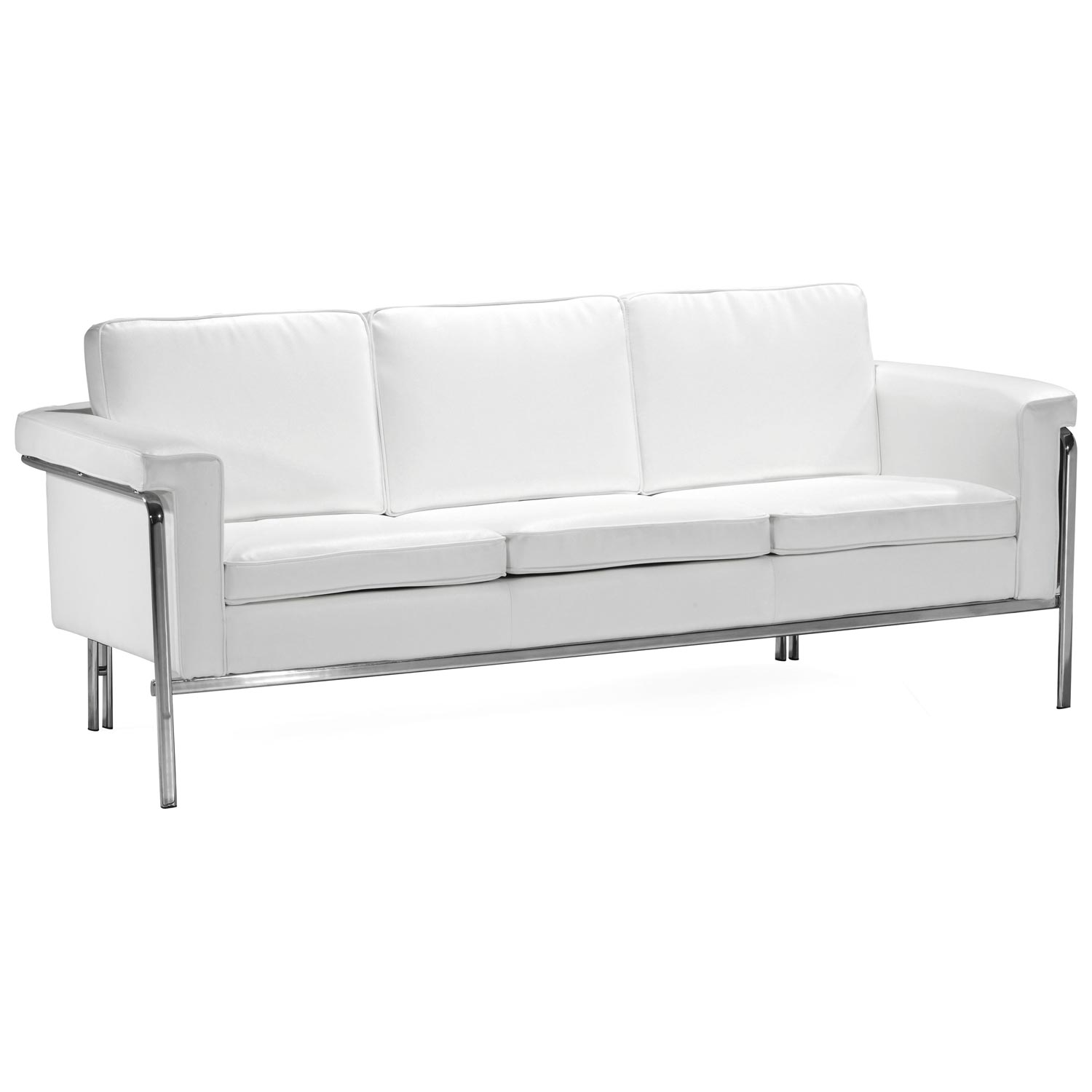 Singular Modern Sofa - Chrome Steel, White
