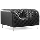 Providence Tufted Armchair - Chrome Steel, Black