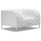 Providence Tufted Armchair - Chrome Steel, White