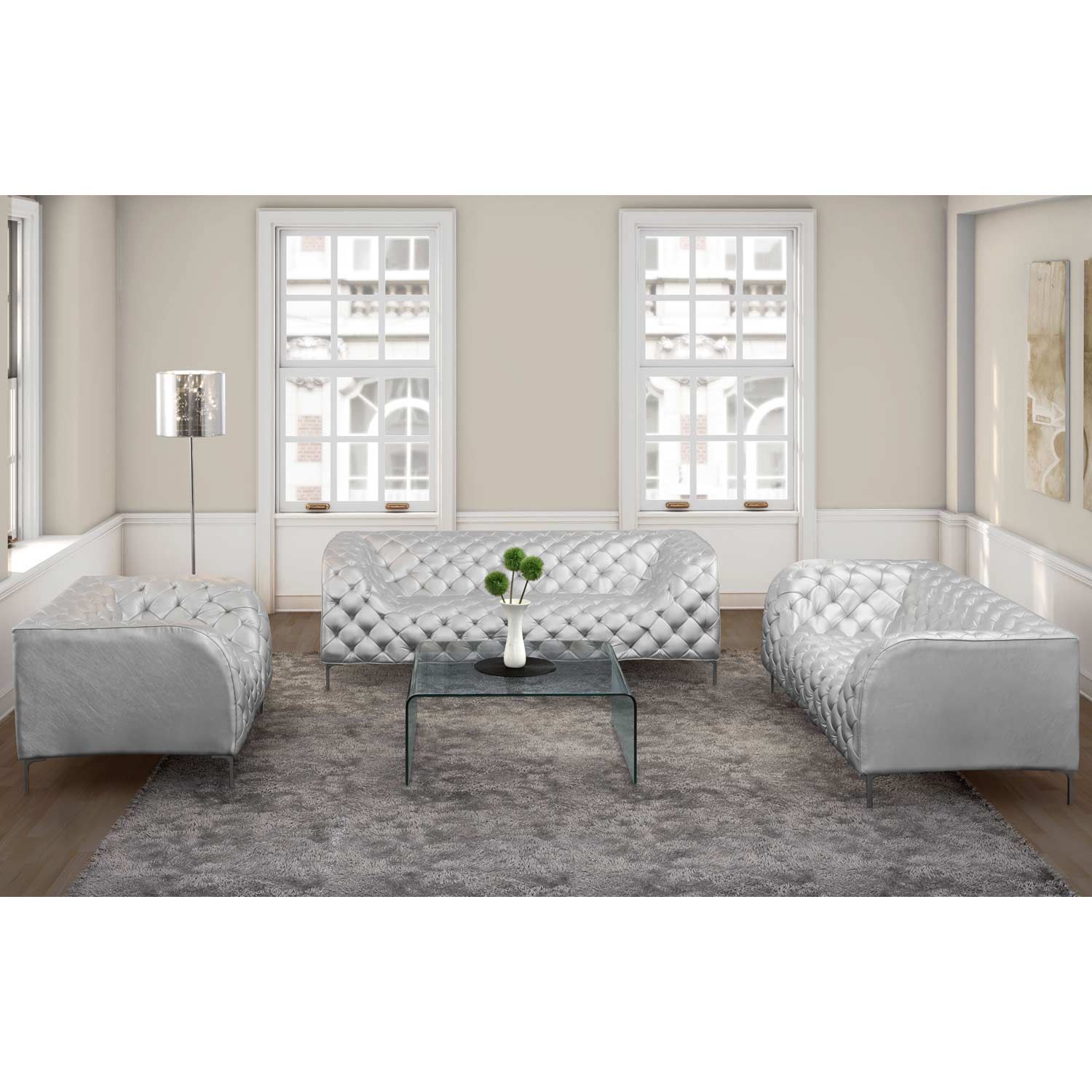 Providence Tufted Sofa - Chrome Steel, Silver - ZM-900278