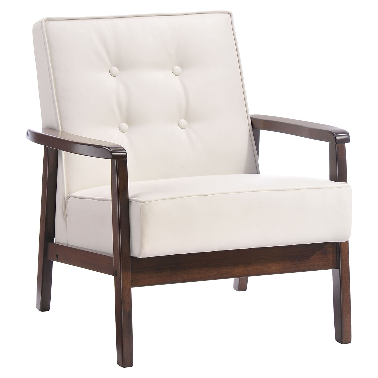 Aventura Arm Chair - Tufted, White - ZM-900639