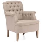 Castro Armchair - Button Tufts, Beige Linen