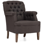 Castro Armchair - Button Tufts, Charcoal Gray Linen