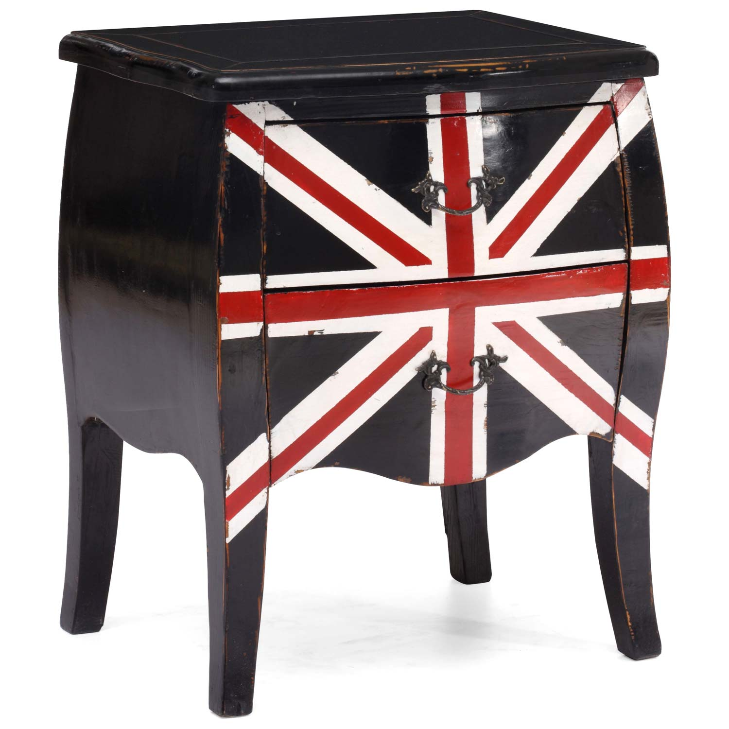 Union Jack 2-Drawer Nightstand / End Table - Distressed Black
