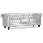 Aristocrat Silver Tufted Sofa