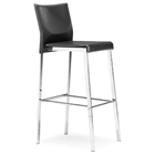 Boxter Black Leather Barstool - Contrast Stitching
