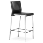 Boxter Black Leather Counter Stool - Contrast Stitching