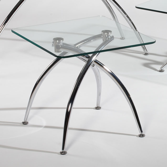 Elaine Chamfered Edge Glass Lamp Table