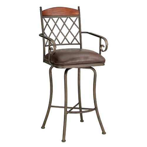 "Megan 26"" Swivel Counter Stool - Armrests, Lattice, Leather, Mocha"