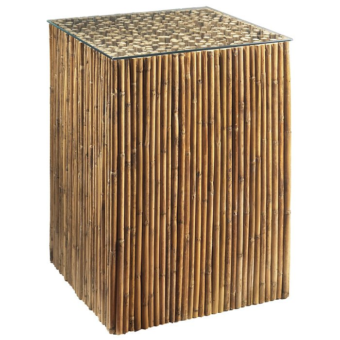 Tall Square End Table - Bamboo Stick Bunch Base, Glass Top
