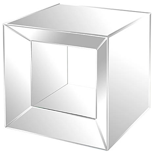 Open Middle Mirrored Side Table - Cube