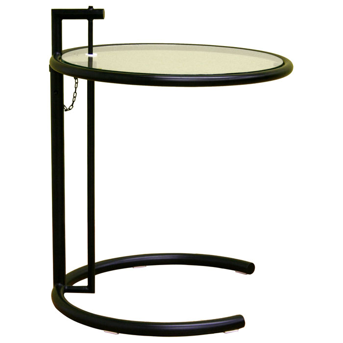 Eileen Grey Round Glass Top Black End Table