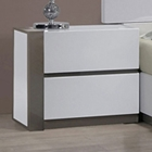 Manila Left Side Nightstand - Glossy White, 2 Drawers