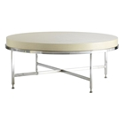 Galleria Round Cocktail Table - Stainless Steel, White on Ash