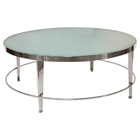 Sarah Round Cocktail Table - Polished Chrome, Frosted Glass