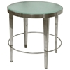 Sarah Round End Table - Polished Chrome Base, Frosted Glass Top