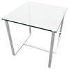 Edwin End Table - Chrome Plated Sleigh Legs, Square Glass Top