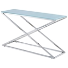 Excel Stainless Steel Console Table - X Base, Clear Glass Top