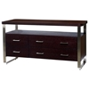 Artesia 6-Drawer Buffet Table - Mocha on Oak, Satin Nickel Accents