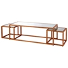 Grace Nesting Tables Set - Gold Leaf Metal, Mirror Glass Inlay