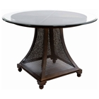 Bianca Dining Table - Meshed Metal Base, 42 Glass Round Top