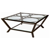 Veranda Square Cocktail Table - Metallic Bronze, Glass Top & Shelf