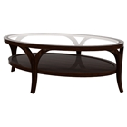 Sebastian Cocktail Table- Espresso on Birch, Oval Glass Top