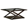 Halifax Rectangular Cocktail Table - Espresso, Beveled Glass Inlay