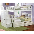 Columbia White Stairway Full Bunk Bed w/ Storage Drawers