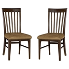 Montreal Slatted Dining Chair w/ Cappuccino Fabric Seat