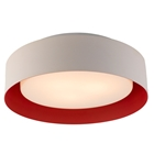 Lynch Ceiling Light - Glass, White & Red Metal