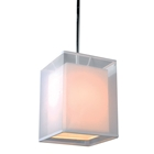 Phoenix Pendant Light - White Organza & Linen Shade, Square