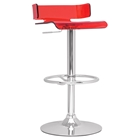 Pneumatic Gas Lift Adjustable Height Bar Stool - Swivel, Red, Chrome