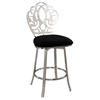 Swivel Bar Stool - Laser Cut Back, Black Seat, Brushed Nickel