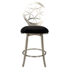 Memory Swivel Bar Stool - Laser Cut Round Back, Black Seat, Brushed Nickel