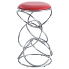 Interlocking Multi-Ring Bar Stool - Red Seat, Brushed Stainless Steel