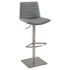 Adjustment Height Stool - Ribbed Back, Gray Seat, Brushed Stainless Steel