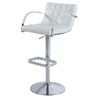 Pneumatic Gas Lift Swivel Stool - Adjustable Height, White Seat, Chrome