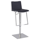 Pneumatic Stool - Black Leatherette, Brushed Stainless Steel Base