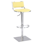 Pneumatic Stool - Yellow, Brushed Stainless Steel Base, Open Back
