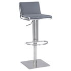 Pneumatic Stool - Slanted Backrest, Gray, Brushed Stainless Steel Base