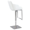 Pneumatic Stool - Tufted, White, Brushed Stainless Steel Base - CI-0899-AS-WHT