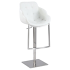 Pneumatic Stool - Tufted, White, Brushed Stainless Steel Base