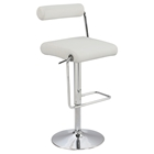 Adjustable Height Stool - Swivel, Roll Back, White, Chrome Base