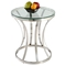 Double Ring Lamp Table - Clear Top, Stainless Steel - CI-1156-LT