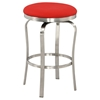 Backless Bar Stool - Red, Brushed Stainless Steel Base