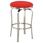 Backless Counter Stool - Red, Brushed Stainless Steel Base