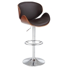 Pneumatic Swivel Stool - Brown Seat, Chrome and Walnut
