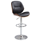 Pneumatic Swivel Stool - Black Seat, Chrome and Walnut