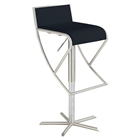 Pneumatic Gas Lift Swivel Stool - Black Seat, Brushed Stainless Steel Base